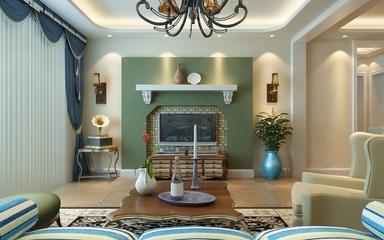 79平地中海住宅欣赏客厅背景墙