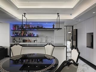 新古典黑白色调住宅餐厅效果图