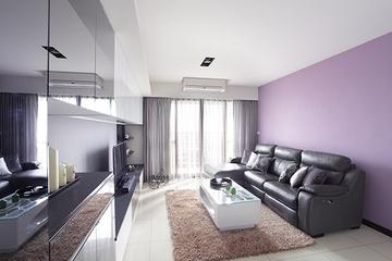 简约紫色淡雅空间效果图客厅