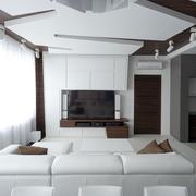 现代全白公寓电视背景墙