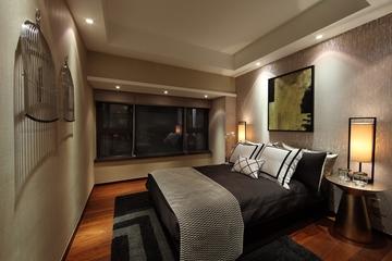 现代中式卧室效果图