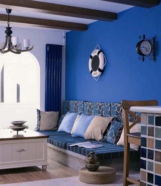 蓝色地中海住宅设计欣赏客厅吊顶