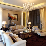 新古典设计效果图客厅窗帘