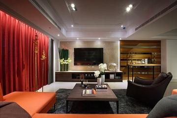 舒适108平现代三居欣赏客厅效果