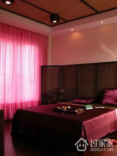 东南亚复式卧室床头背景