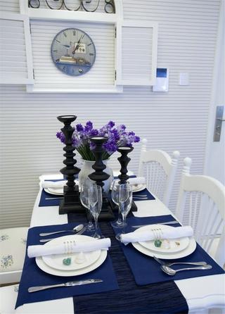 白色浪漫地中海住宅欣赏餐厅餐桌