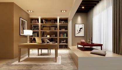 精致书房书柜设计效果图 华丽家装