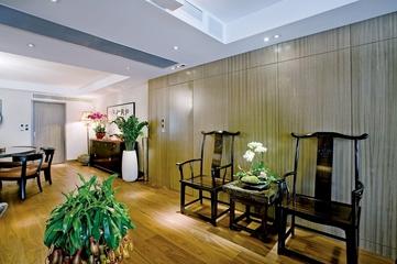 浓郁新中式三居室欣赏客厅背景墙设计