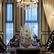 奢华新古典风餐厅落地窗帘