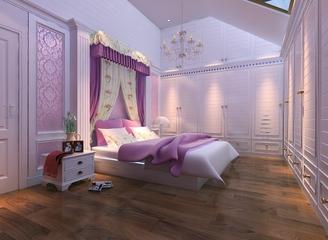 224平典雅欧式别墅欣赏卧室陈设