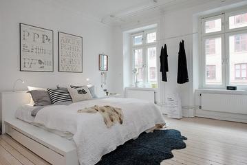 白色北欧两居案例设计欣赏卧室窗户设计