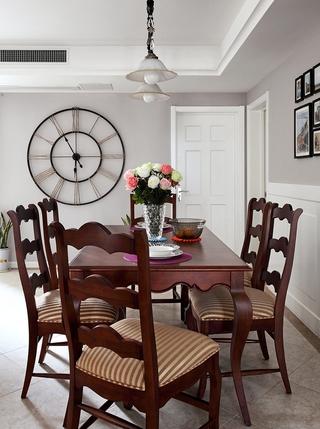 92平三居室美式家居餐厅餐桌欣赏