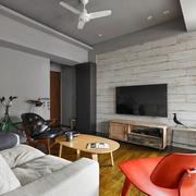 130平现代复式设计图客厅全景