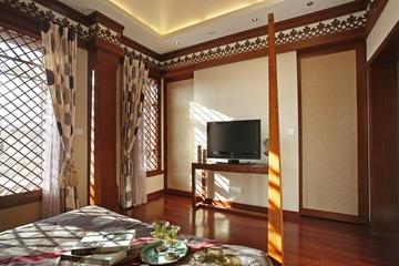 东南亚奢华装修卧室电视背景