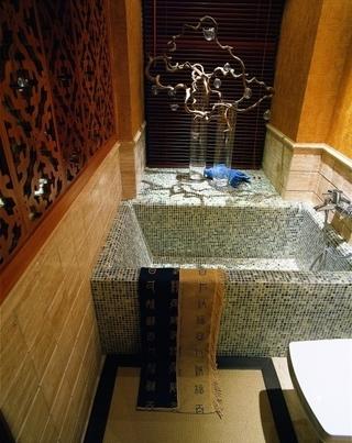 雅致中式三居室欣赏卫生间背景墙