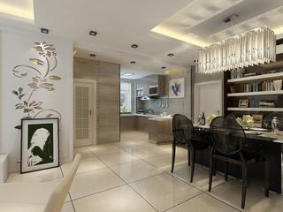 72平白色现代两居室欣赏餐厅吊顶