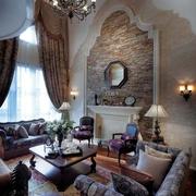 地中海别墅风格套图客厅背景墙设计效果
