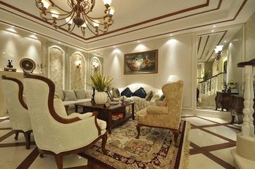 美式别墅客厅装修设计效果图