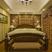 简欧风格别墅样板房卧室背景墙设计