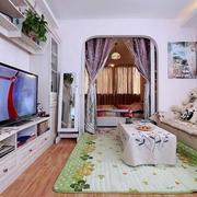 清新客厅电视柜装修效果图 50平田园一居室