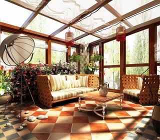 130平美式四居室欣赏阳台灯饰