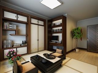 100平新中式三居室欣赏书房书架