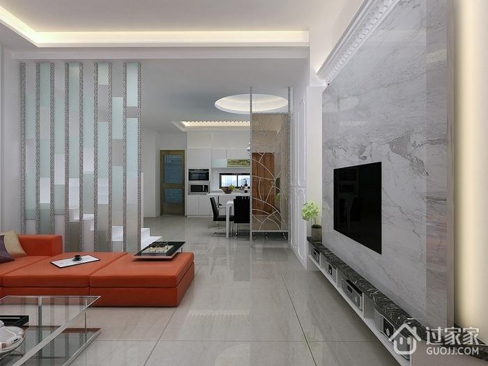 现代客厅隔断装修效果图 80平温馨三居室