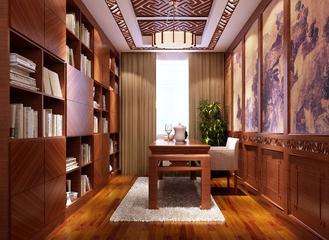 120平新中式雅居欣赏书房书架