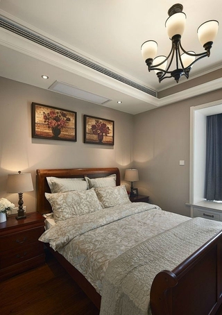 88平美式两居室案例欣赏卧室吊顶