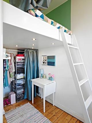 60平白色宜家单身公寓欣赏卧室