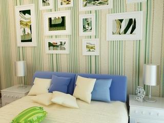 110平彩色混搭复式楼欣赏卧室效果