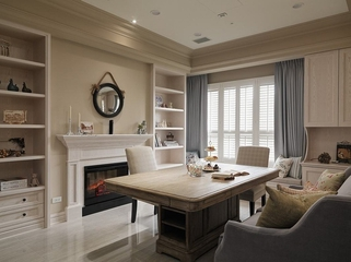 客厅书架设计效果图 时尚美式乡村风