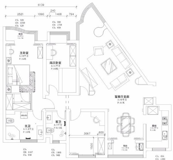 160三居室现代风格,房子不规则也v风格的136装修平米设计图的户型图片