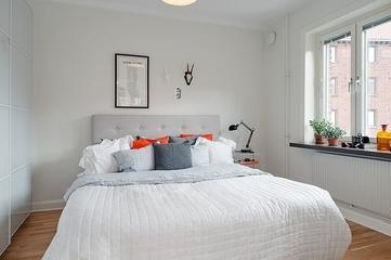 55平白色宜家公寓欣赏卧室