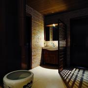 古典风洗手间隔断效果图