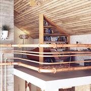 古朴与现代结合的阁楼欣赏书房