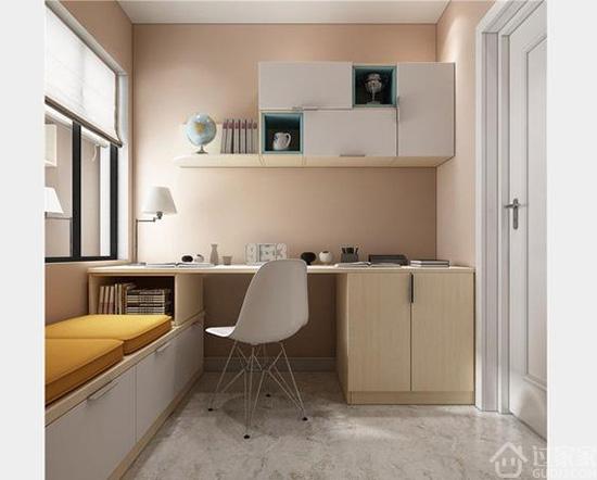 阳台设计成飘窗+书柜+吊柜组合图片