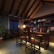 现在复古风书房效果图