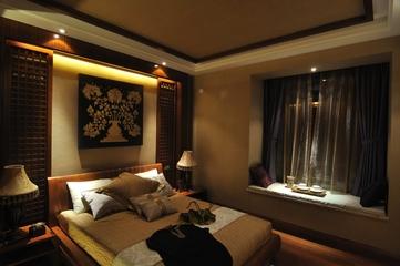 东南亚设计卧室床头背景