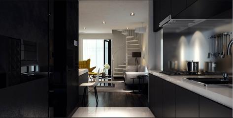105平现代三居室案例欣赏过道吧台