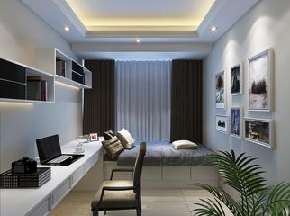 现代极简两居室欣赏卧室书架