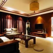 中式风格客厅布艺沙发摆放效果图
