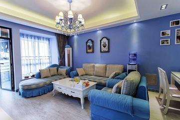 112平蓝色地中海住宅欣赏客厅灯饰