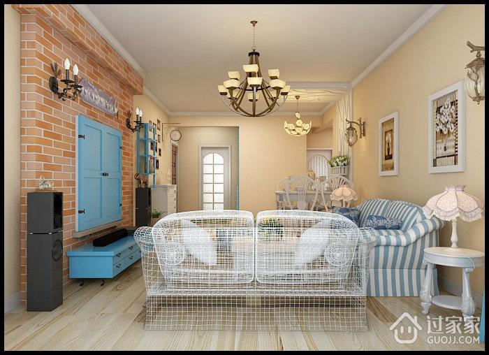 彩色客厅个性背景墙效果图