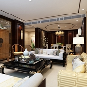 豪华新中式风格 典雅客厅衣柜装修效果图