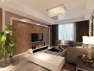 100平简约三居室案例欣赏客厅背景墙