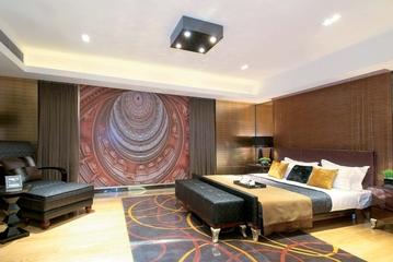 新古典样板房效果图卧室艺术装饰画