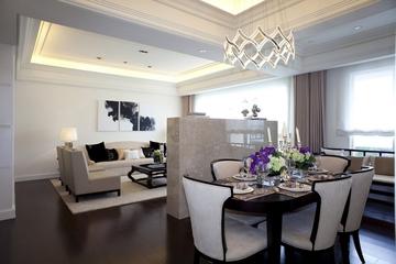 新古典三居室样板房案例欣赏客厅吊顶设计