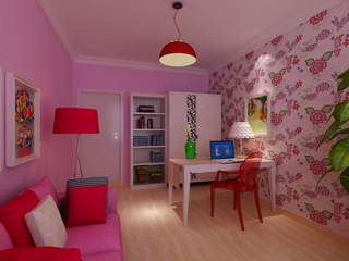 大胆用色简约公寓欣赏书房陈设