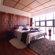 中式风木质卧室效果图